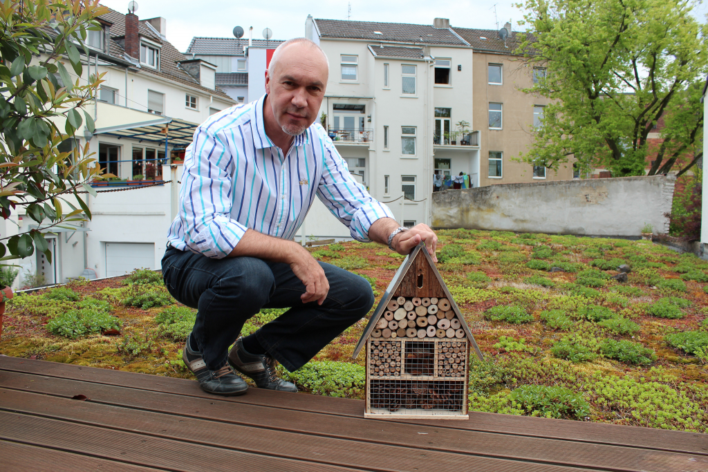 ForestFinance-Gründer Harry Assenmacher mit Insektenhotel am Bonner Firmensitz. Foto: ForestFinance