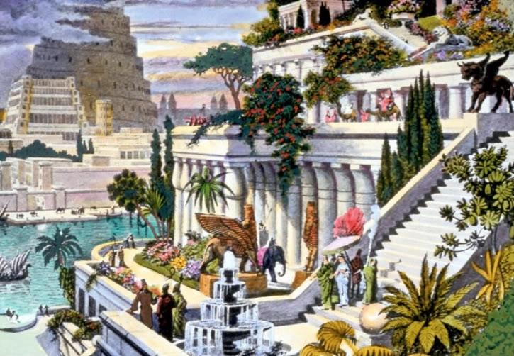 ünstlerische Interpretation der Hängenden Gärten der Semiramis (vermutlich 19. Jahrhundert)