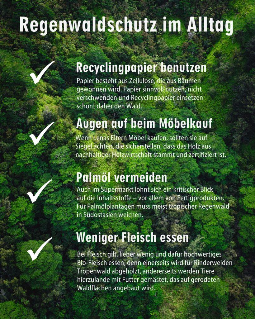 Tipps für Regenwaldschutz im Alltag