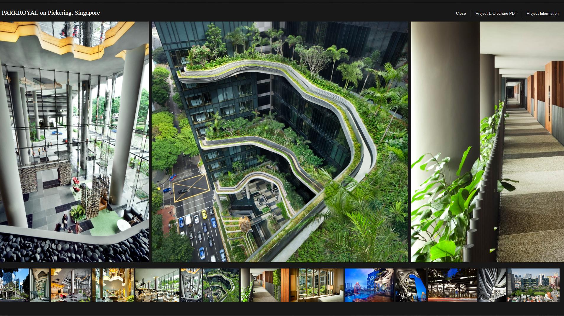 Die weltweit bekannten Begrünungsprojekte des Singapurer Archicktenbüros WOHA können Sie sich auf Ihrer Website ansehen, indem sie sich einfach durch die Karte von Singapur klicken. Screenhot: WOHA.net