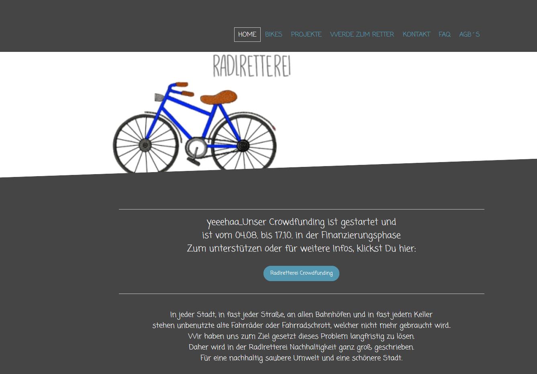 Die Website der Radlretterei. Sreenshot: Radlretterei.com