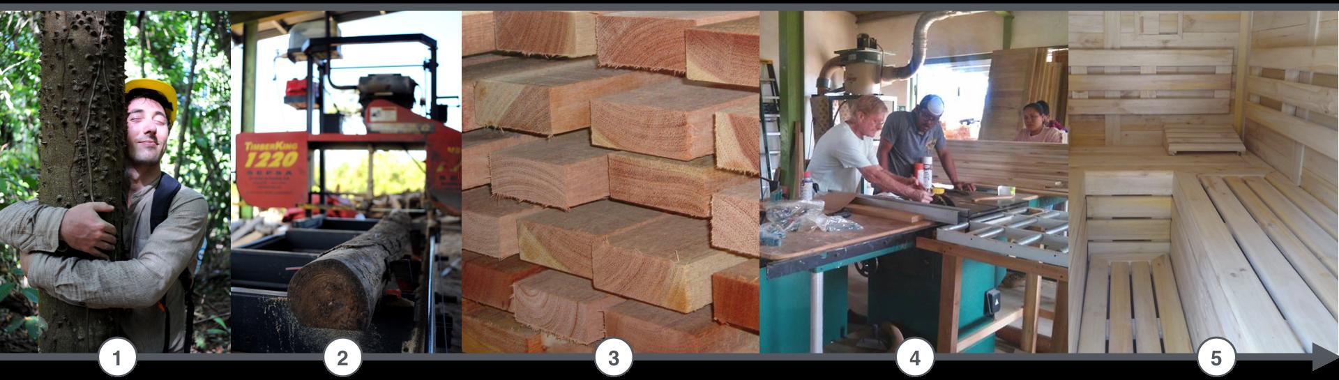 Die Holzwertschöpfungskette bei ForestFinance: Vom Baum zum Stamm, vom Stamm zum Brett, vom Brett bis zur fertigen Sauna! Quelle: ForestFinance Frankreich