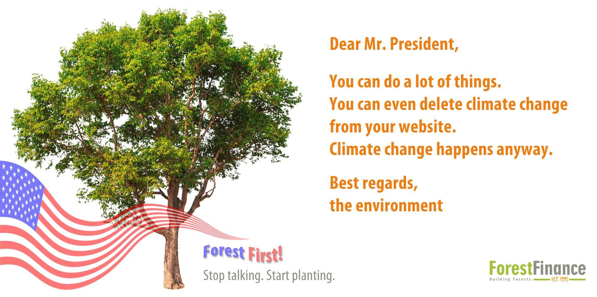 Das Klima wandelt sich - ob US-Präsident Donald Trump es wahrhaben möchte oder nicht. Bild: ForestFinance