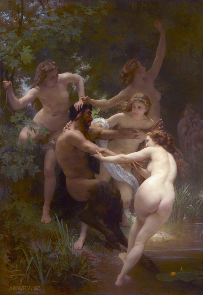 """Bäume in der Mythologie: Griechen und Römer glaubten, dass Bäume von Nymphen, also Baumgeistern bewohnt seien, wie hier auf dem Gemälde """"Nymphen und Satyr"""" (1873) von William Adolphe Bouguereau dargestellt."""