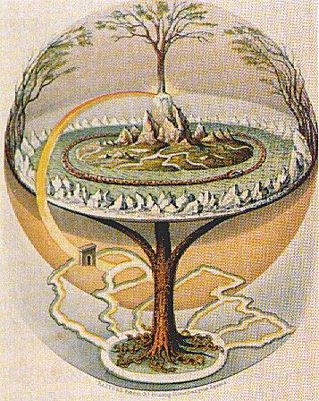 Bäume in der Mythologie: Yggdrasil, der Weltenbaum: Illustration von Oluf Olufsen Bagge (1847)