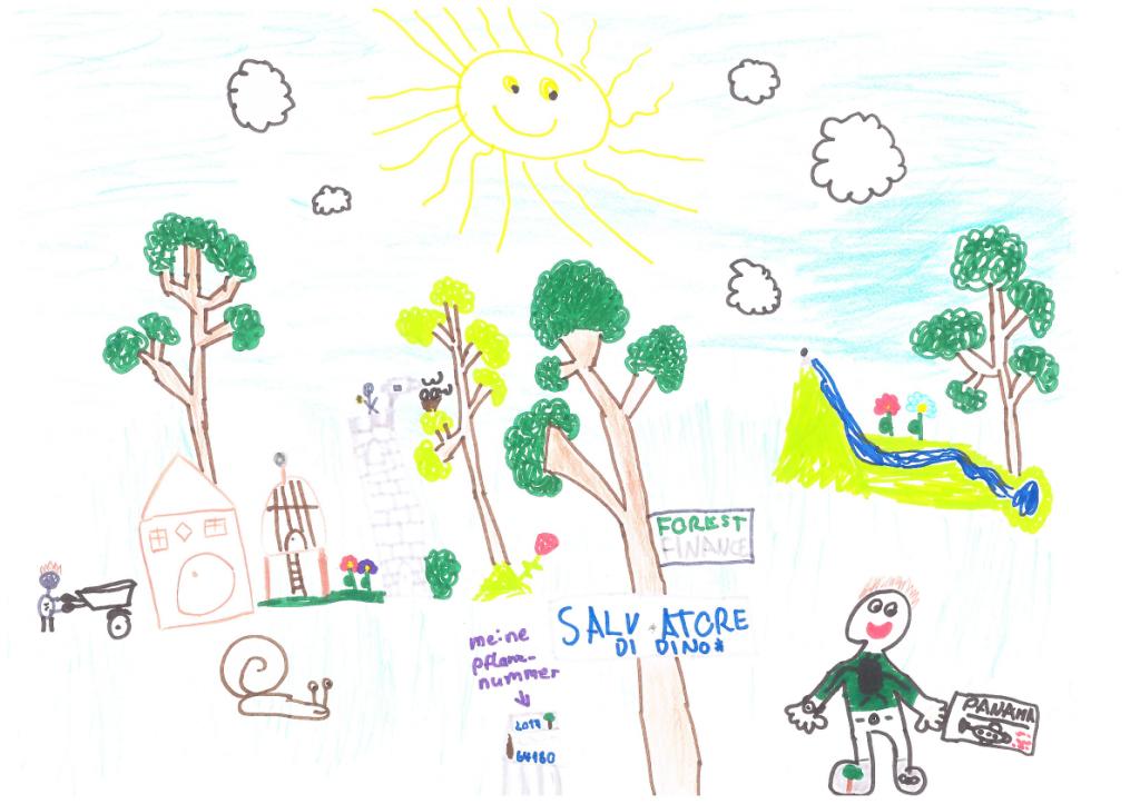Eine Zeichnung von Salvatore di Dino: Sie zeigt vier große Bäume, darunter seinen Baum zur Kommunion, viele Tiere und ihn selbst mit einem Flugticket nach Panama in der Hand.
