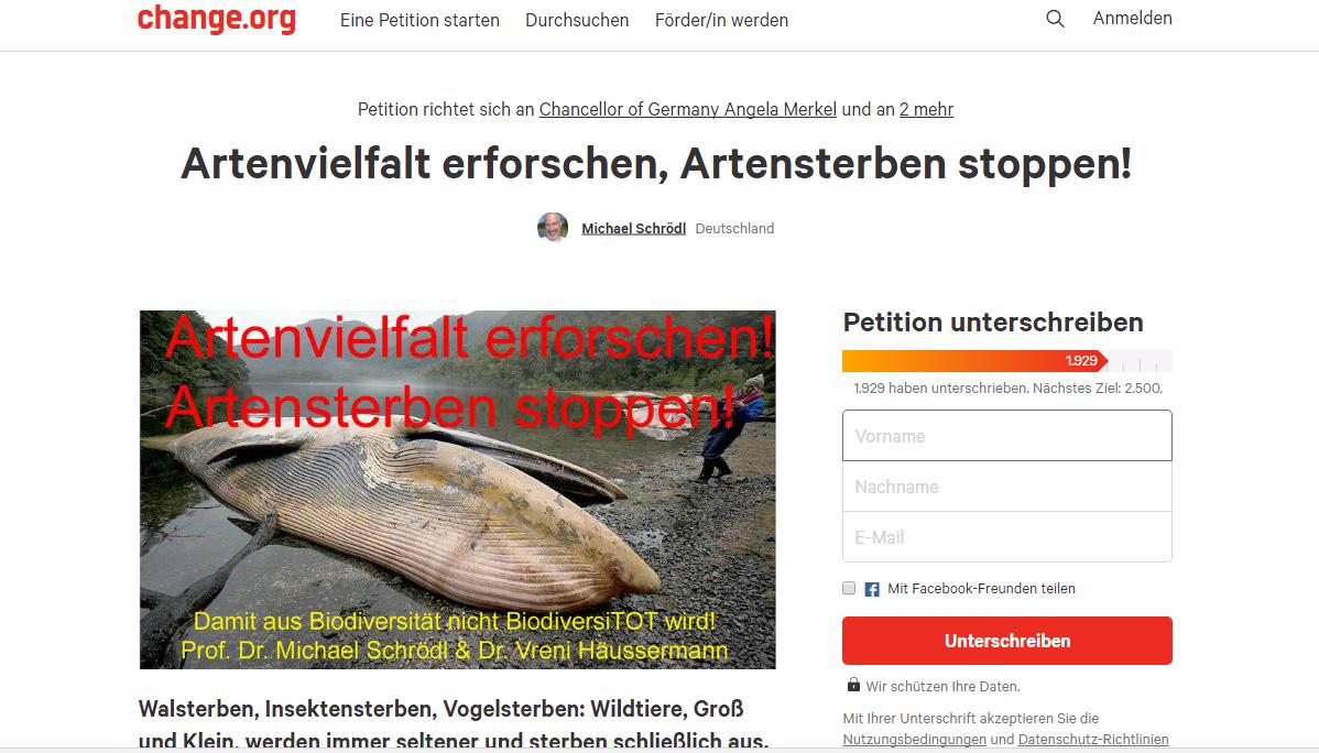 """Wer das Anliegen von Prof. Dr. Schrödl unterstützen möchte, kann seine Petition """"Artenvielfalt erforschen, Artensterben stoppen!"""" auf change.org unterstützen. Screenshot: change.org"""