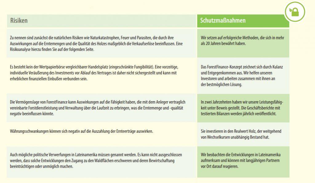 Risiken und Hinweise bei einem Waldinvestment