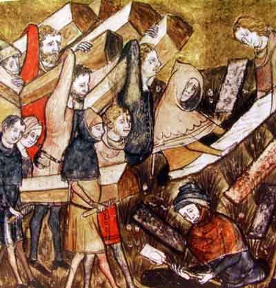 Das Begräbnis von Pest-Toten in Tournai wird in diese Miniatur in den Chroniken des Gilles Li Muisis (1272–1353) dargestellt. Quelle: Wikipedia, Bibliothèque royale de Belgique