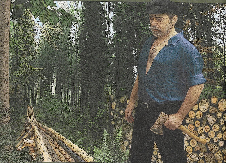 Paul Sachse als Holzfäller. In seinen digital überarbeiteten Fotocollagen verdeutlicht er, wie herzlos Menschen mit ihrer Umwelt umgehen.