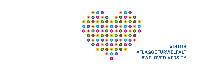 Wir zeigen Flagge für Vielfalt. Grafik: Charta der Vielfalt