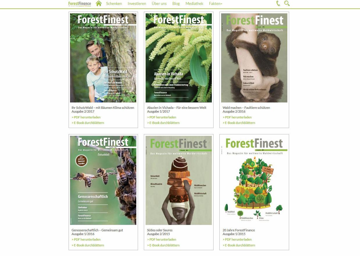 Auf unserer Website oder unter dem Direktlink www.forestfinest.de können Sie vergangene Ausgaben der ForestFinest als PDF oder E-Magazine ansehen. Screenshot: www.forestfinest.de