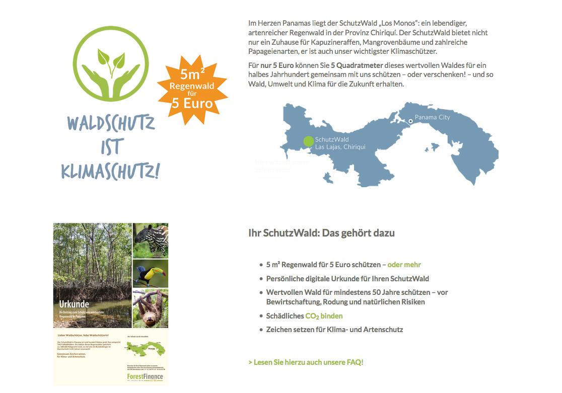 Sie können online mit wenigen Klicks Regenwald sich oder anderen schenken.