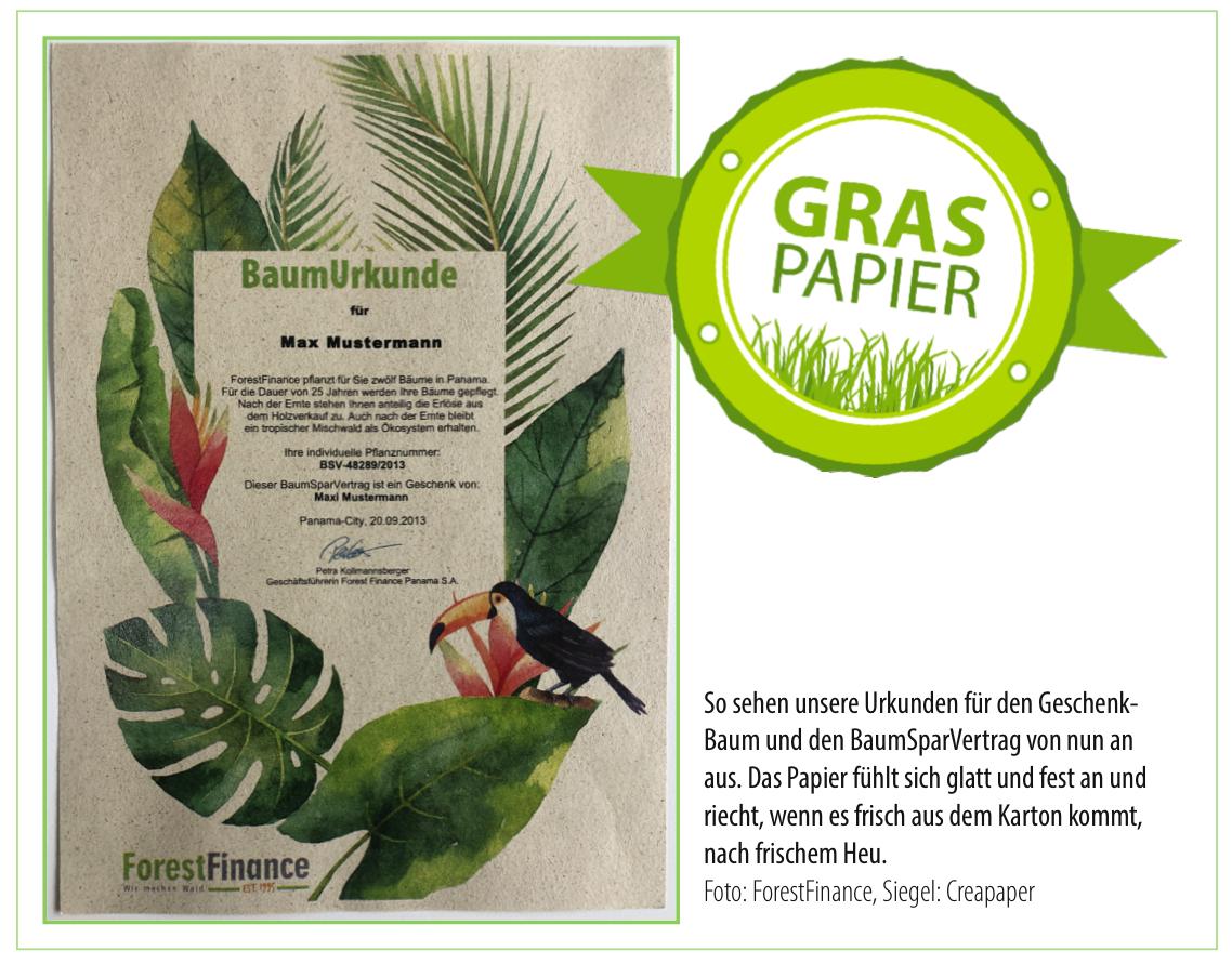 ForestFinance-Urkunde Graspapier