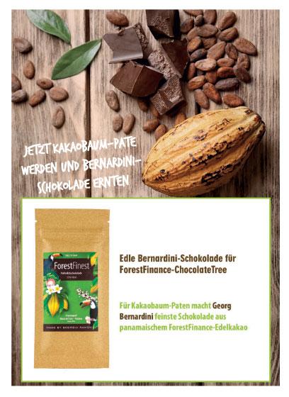 Verschenken Sie eine Kakaobaum-Patenschaft - oder werden Sie selbst Pate - dann gibt es fünf Tafeln feinster Schokolade für Sie oder die Beschenkten.