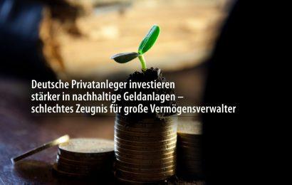 Deutsche Privatanleger investieren stärker in nachhaltige Geldanlagen – schlechtes Zeugnis für große Vermögensverwalter